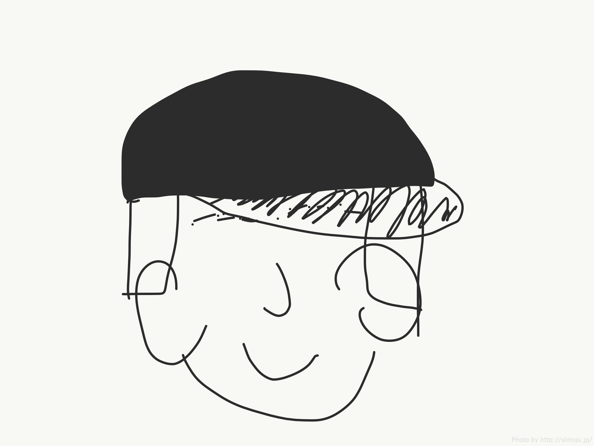 ツバのある帽子の図